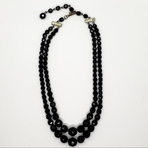 2 strand black faceted glass Mourning Necklace